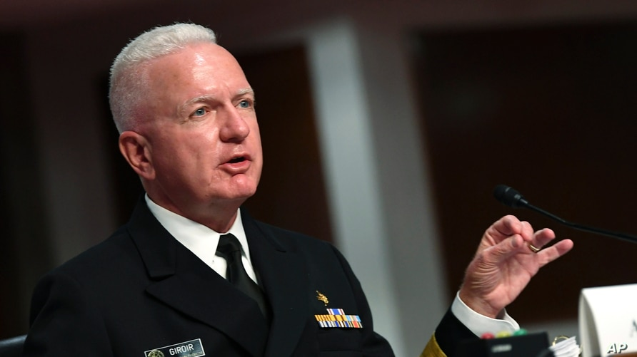 FILE - Adm. Brett Giroir, director of the U.S. coronavirus diagnostic testing, testifies at a Senate committee hearing, on Capitol Hill, in Washington, June 30, 2020.