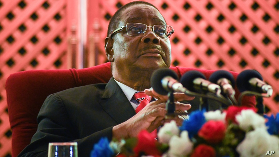 Malawi former President Peter Mutharika addresses the media at a news conference in Blantyre, June 27, 2020.