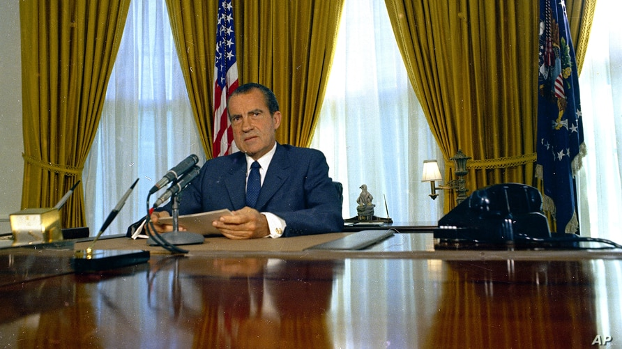 FILE - U.S. President Richard Nixon is seen in the Oval Office of the White House, in Washington, in 1969.
