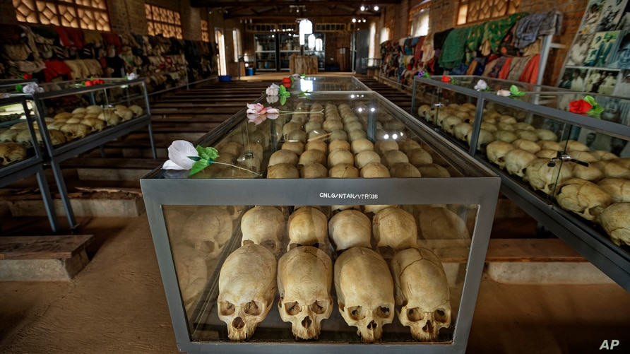 Skulls of victims of the 1194 genocide are kept inside the Catholic church in Ntarama, Rwanda, April 5, 2019.
