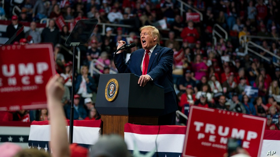 FILE - President Donald Trump speaks during a campaign rally at Bojangles Coliseum, in Charlotte, North Carolina, March 2, 2020.