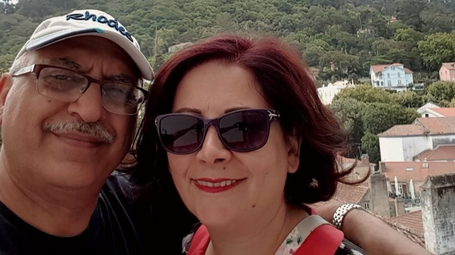Anoosheh Ashoori (L) is seen with his wife Sherry Izadi in a photo posted on her Twitter account (@IzadiSherry)