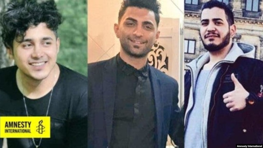 From right to left: Amirhossein Moradi, Mohammad Rajabi and Saeed Tamjidi who have been sentenced to death in connection with acts of arson that took place during protests in November 2019.