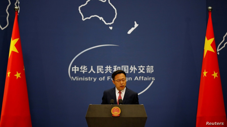 Chinese Foreign Ministry spokesman Zhao Lijian speaks during a news conference in Beijing, April 8, 2020.