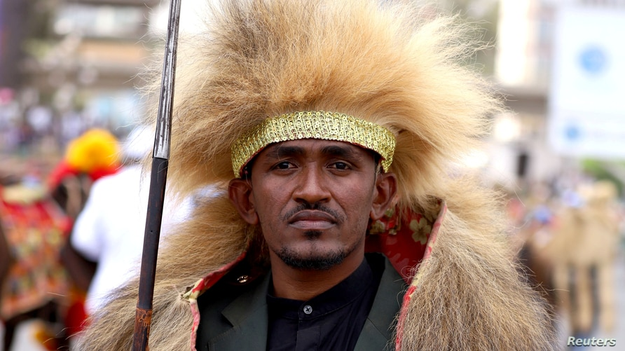 FILE: Ethiopian musician Haacaaluu Hundeessaa poses while dressed in a traditional costume during the 123rd anniversary celebration of the battle of Adwa, where Ethiopian forces defeated invading Italian forces, in Addis Ababa, March 2, 2019.