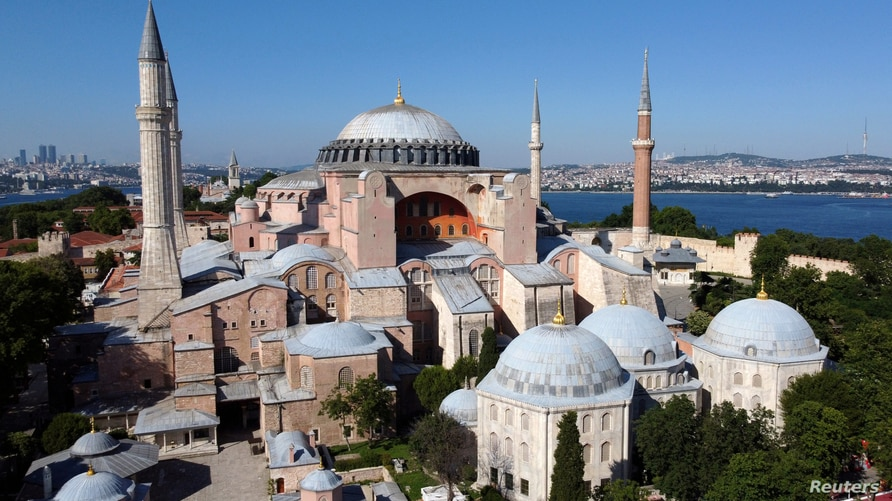 FILE -  Hagia Sophia or Ayasofya, a UNESCO World Heritage Site, that was a Byzantine cathedral before being converted into a mosque which is currently a museum, is seen in Istanbul, Turkey, June 28, 2020.