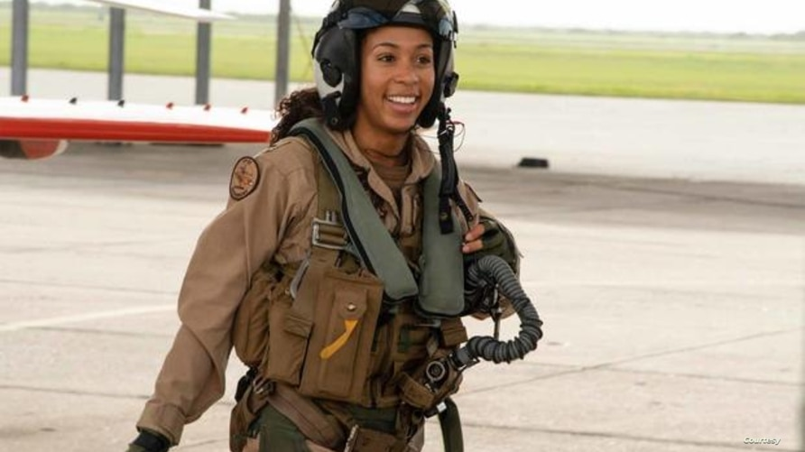 Lt. j.g. Madeline Swegle is the first known Black female tactical aircraft pilot. (U.S. Navy)