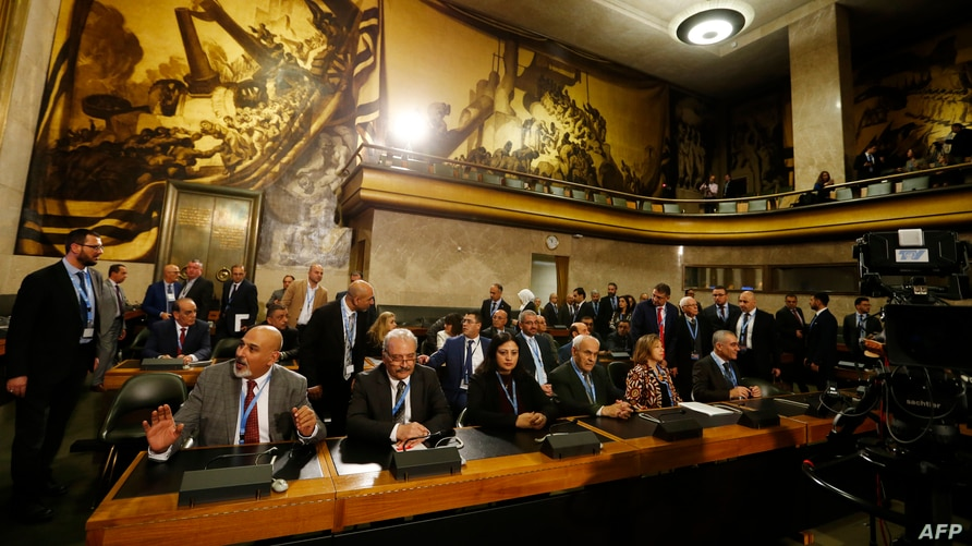 Members of the opposition Syrian Negotiations Commission attend the first meeting of the new Syrian Constitutional Committee at…