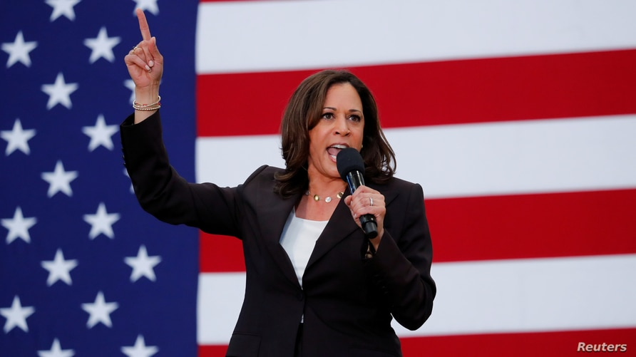 FILE PHOTO: U.S. Senator Kamala Harris holds her first organizing event in Los Angeles as she campaigns in the 2020 Democratic…