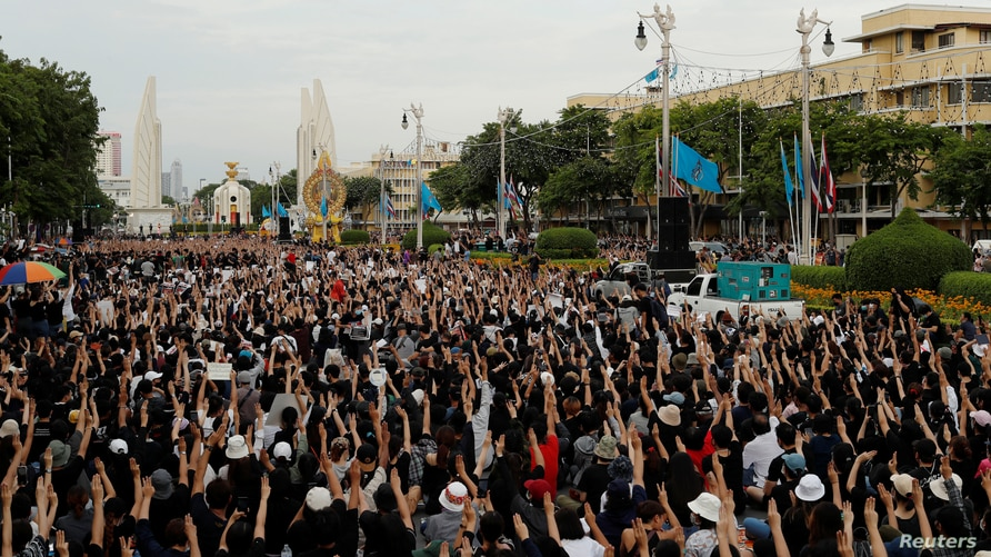 Pro-democracy protesters attend a rally to demand the government to resign, to dissolve the parliament and to hold new…
