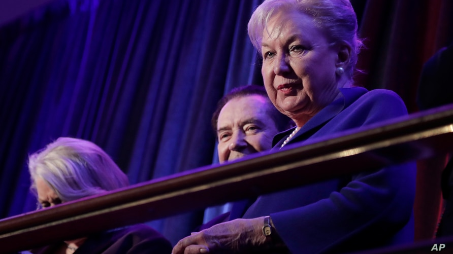 FILE - In this Nov. 9, 2016 file photo, federal judge Maryanne Trump Barry, older sister of Donald Trump, sits in the balcony during Trump's election night rally in New York.