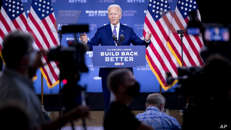 """Democratic presidential candidate former Vice President Joe Biden speaks at a campaign event at the William """"Hicks"""" Anderson…"""