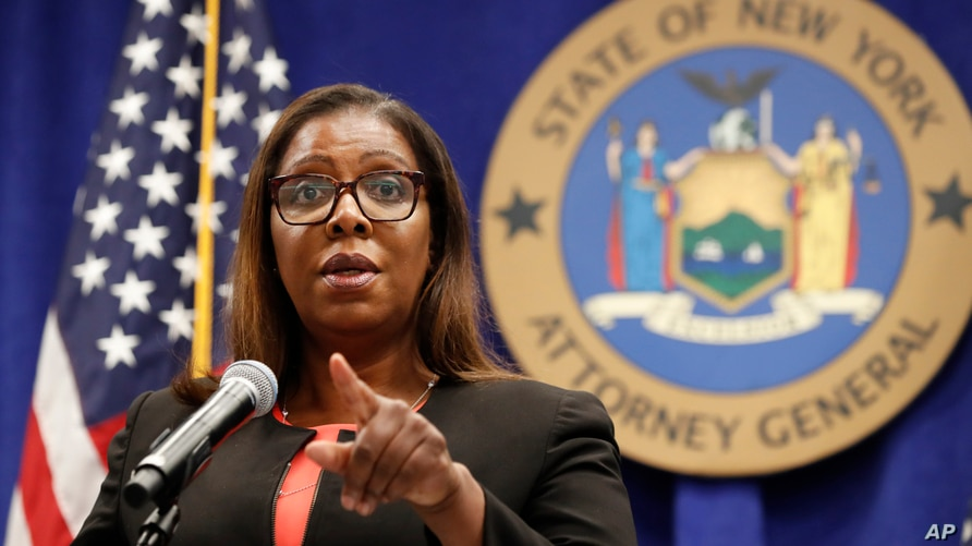 New York State Attorney General Letitia James takes a question after announcing that the state is suing the National Rifle…