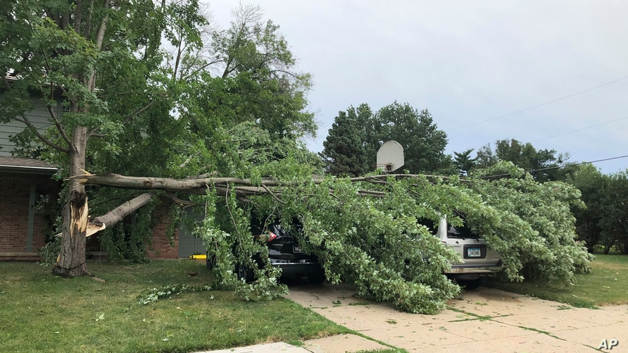 A tree fell across vehicles at a home in West Des Moines, Iowa, after a severe thunderstorm moved across Iowa on Monday Aug. 10…