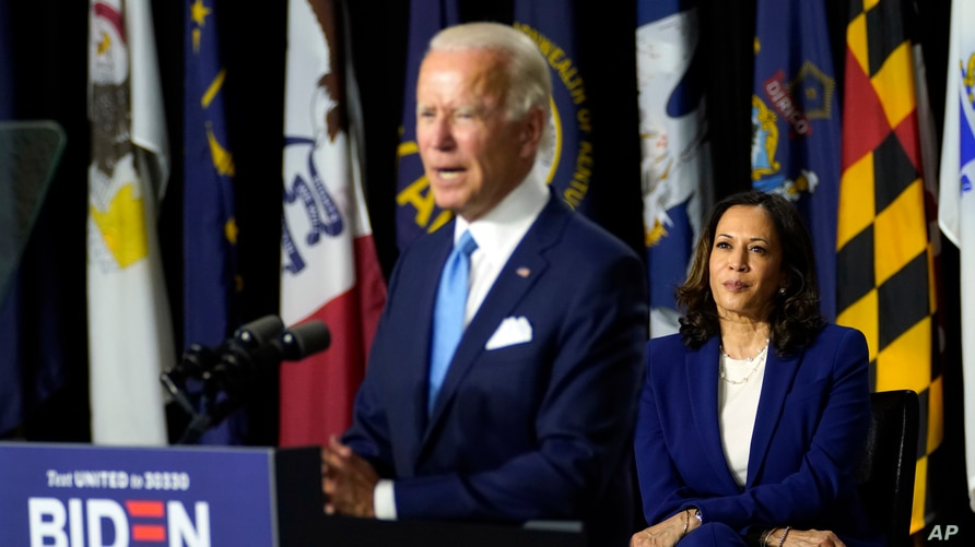 Democratic presidential candidate former Vice President Joe Biden speaks during a campaign event with his running mate