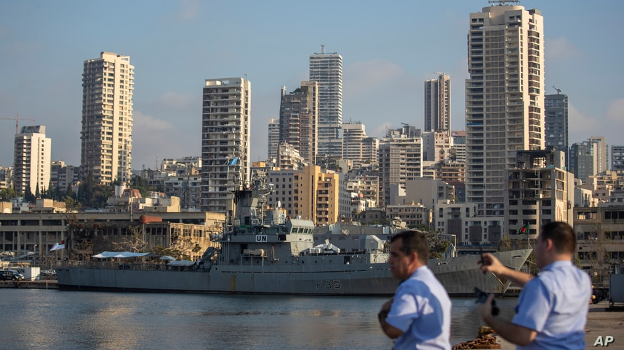 An United Nations Maritime Task Force ship docks near the site of the Aug. 4 explosion that killed more than 170 people,…