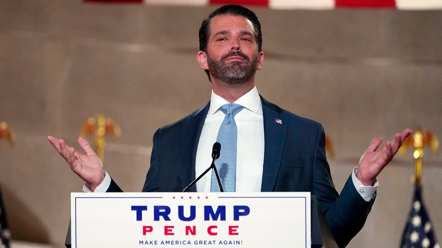 Donald Trump Jr., speaks as he tapes his speech for the first day of the Republican National Convention from the Andrew W. Mellon Auditorium in Washington, Aug. 24, 2020.