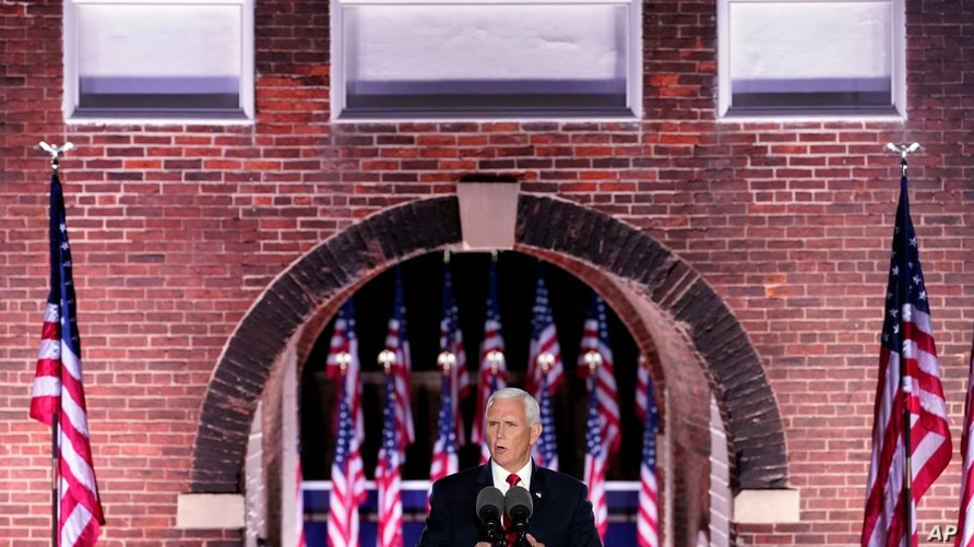 Vice President Mike Pence speaks on the third day of the Republican National Convention at Fort McHenry National Monument.