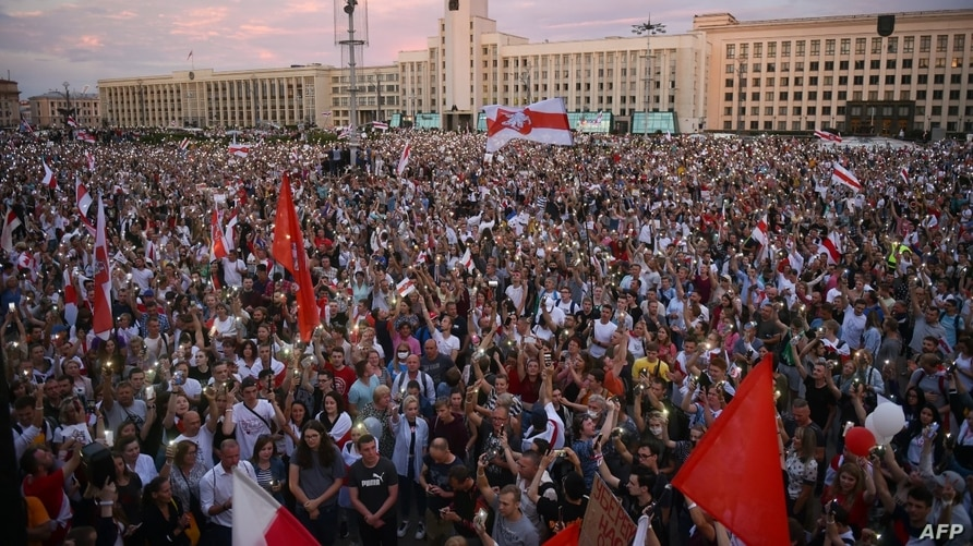 Opposition supporters protest against disputed presidential elections results at Independence Square in Minsk, Belarus, Aug. 18, 2020.