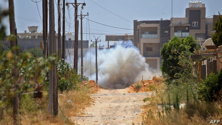 A landmine is exploded during Turkish demining operations in an area south of Tripoli, Libya, June 15, 2020. The U.S. military has accused mercenaries of the Russian state-backed Wagner group of laying landmines and other explosive devices in Libya.