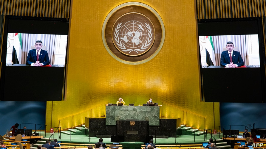 This UN handout photo shows Sheikh Abdullah Bin Zayed Al Nahyan (on screens), Minister for Foreign Affairs and International…