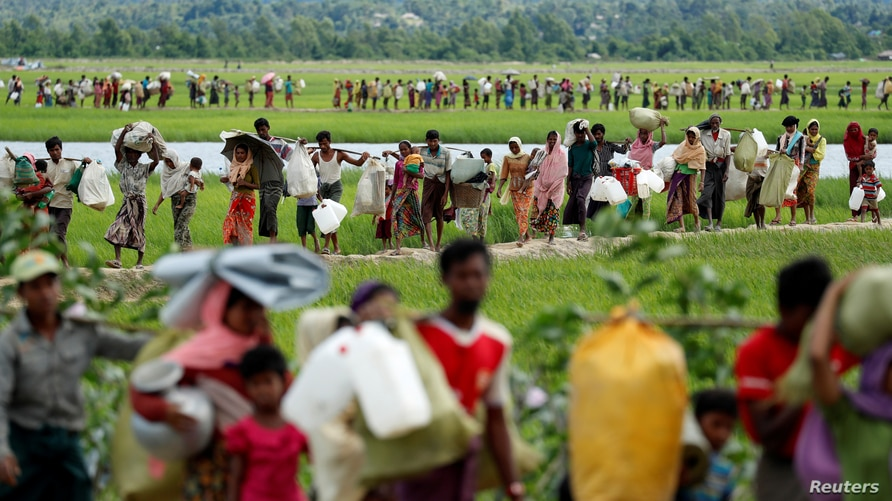 Rohingya refugees, who crossed the border from Myanmar two days before, walk after they received permission from the…