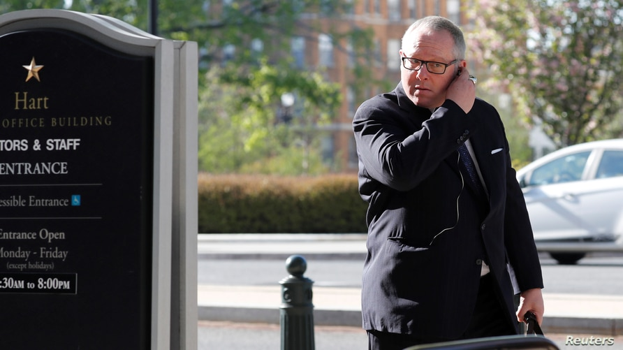 Former Trump campaign official Michael Caputo arrives to be interviewed by U.S. Senate Intelligence Committee staff members in…