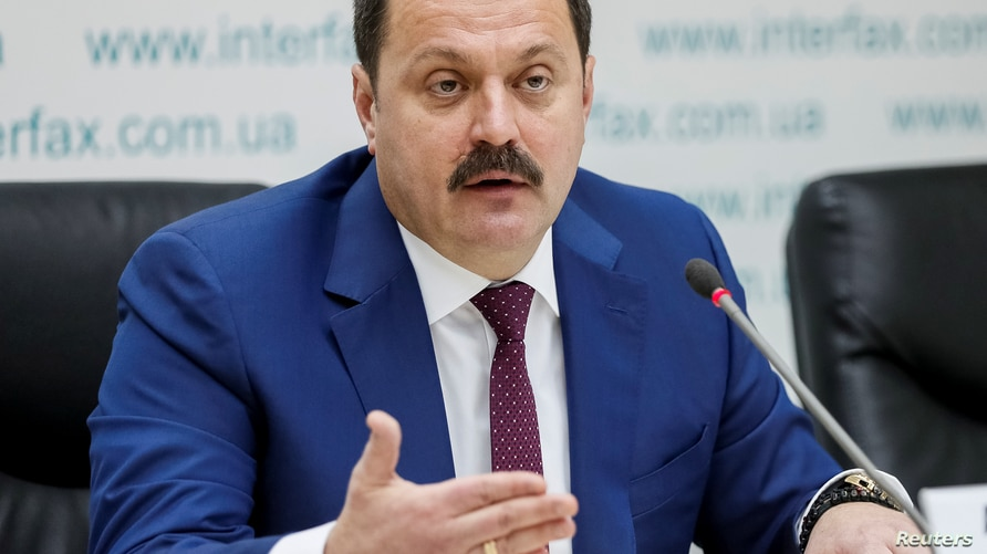 """Ukrainian lawmaker Andrii Derkach attends a news conference titled """"Publication of facts of pressure of U.S. Embassy on Ukraine…"""