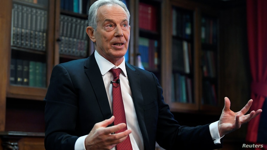 Former British Prime Minister Tony Blair speaks at the Hallam Conference Centre in London, Britain December 18, 2019. REUTERS…