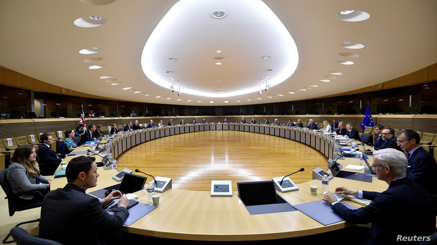 FILE - A general view at the start of a round of post-Brexit trade deal talks between the EU and the United Kingdom, in Brussels, Belgium, June 29, 2020.
