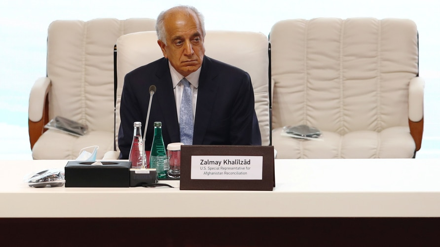 Zalmay Khalilzad, U.S. envoy for peace in Afghanistan is seen before talks between the Afghan government and Taliban insurgents…