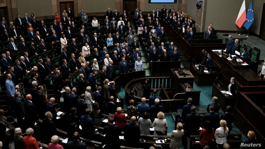 Law and Justice (PiS) leader Jaroslaw Kaczynski and other parliamentarians attend the Polish Parliament session in Warsaw,…