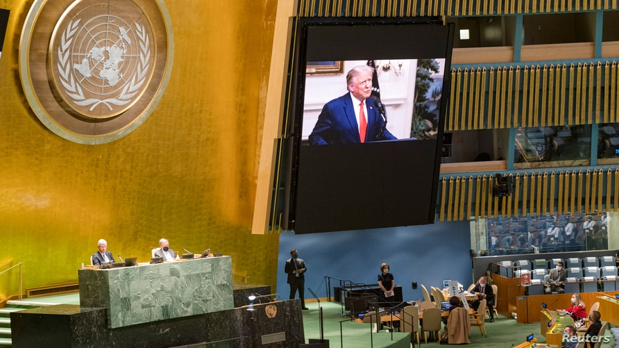 U.S. President Donald Trump speaks during the 75th annual U.N. General Assembly, which is being held mostly virtually due to…