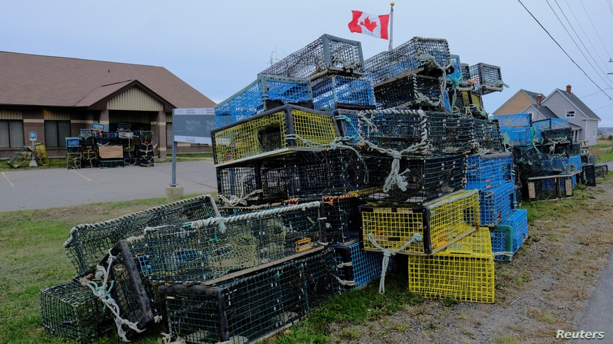 Lobster traps belonging to fishermen of the Sipekne'katik band, which were seized in protest by non-native fishers, lie dumped…