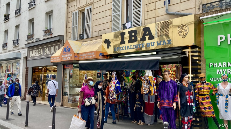 A street in Goutte d'Or features North and sub-Saharan African stores, offering a melting pot of different African nationalities, in Paris. (Lisa Bryant/VOA) sept 2020
