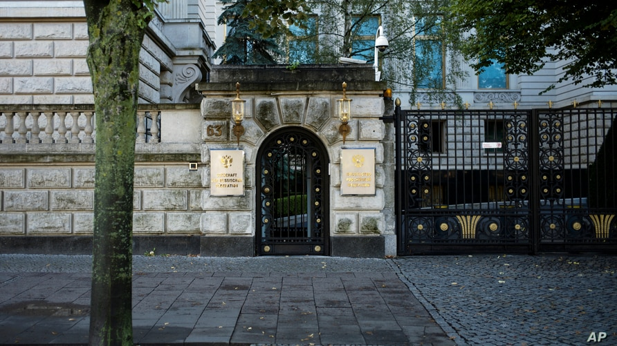 The name signs mark the main entrance of the Russian embassy at the central boulevard 'Unter den Linden' in Berlin, Germany,…