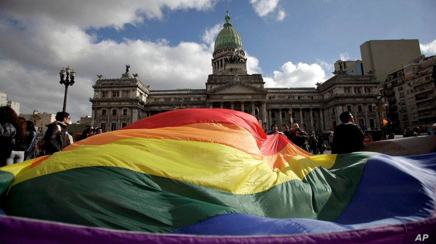 FILE - In this July 14, 2010 file photo, demonstrators wave a gay pride flag outside Congress in support of a proposal to…