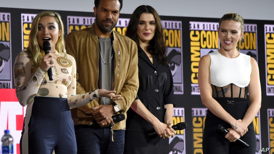 """Florence Pugh, from left, O. T. Fagbenle, Rachel Weisz and Scarlett Johansson participate during the """"Black Widow"""" portion of…"""