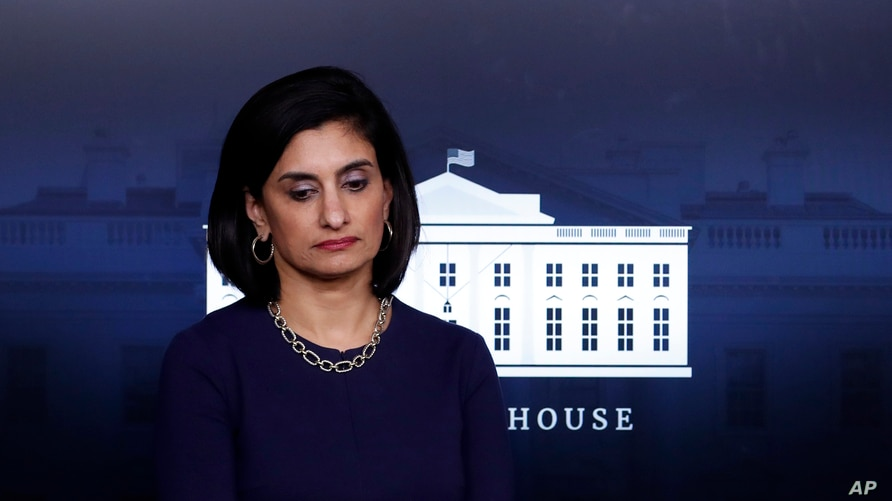 Administrator of the Centers for Medicare and Medicaid Services Seema Verma waits for President Donald Trump to arrive and…