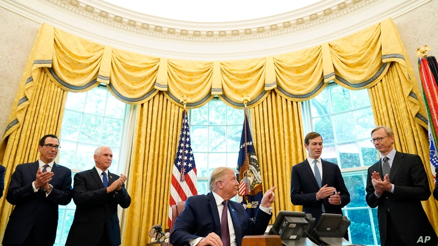 President Donald Trump speaks in the Oval Office of the White House on Sept. 11, 2020, in Washington. Bahrain has become the latest Arab nation to agree to normalize ties with Israel.