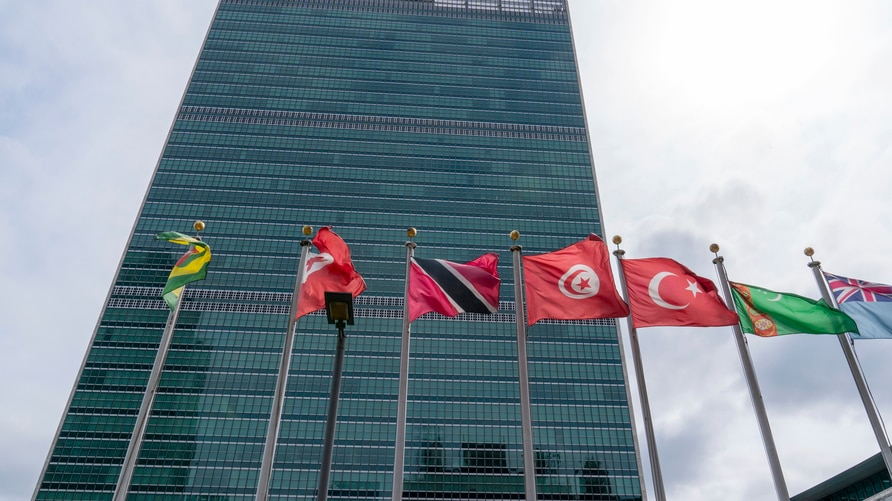 Member state flags fly outside the United Nations headquarters,  Sept. 18, 2020, in New York.
