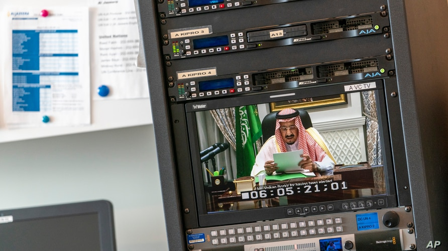 King Salman, of Saudi Arabia, is seen on a video screen remotely addressing the 75th session of the United Nations General Assembly, Wednesday, Sept. 23, 2020, at U.N. headquarters.