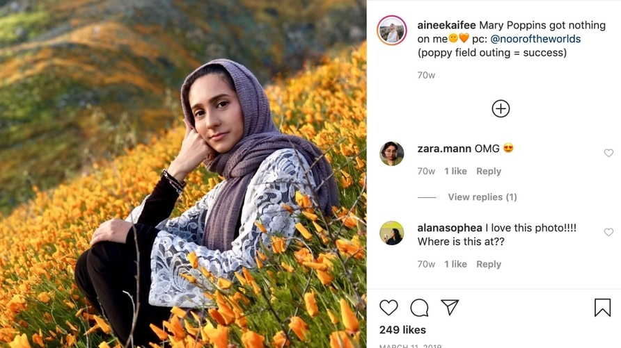Young Muslims are using social media to show the Islamic culture's younger side. This is from Ainee Kaifee's Instagram page.