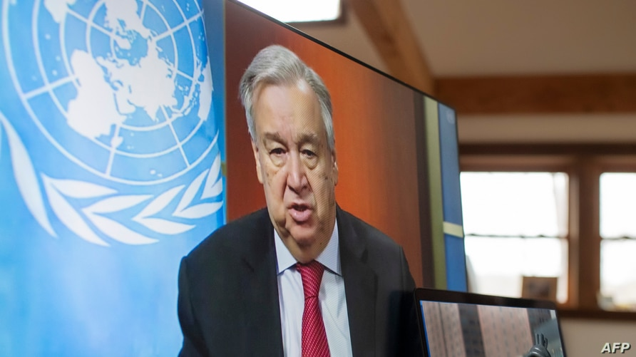 FILE - In this handout photo released by the United Nations, U.N. Secretary-General Antonio Guterres holds a virtual press conference at U.N. headquarters in New York City, April 3, 2020.