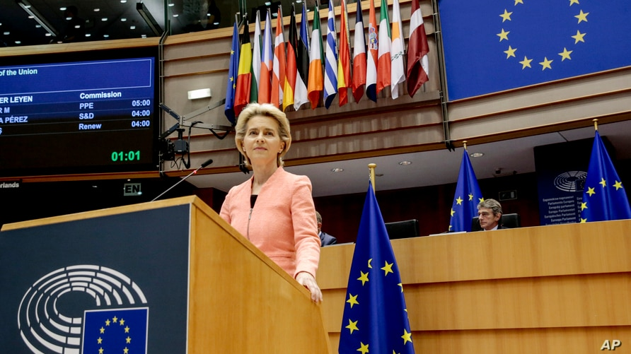 European Commission President Ursula von der Leyen addresses the plenary during her first State of the Union speech at the European Parliament in Brussels, Belgium, Sept. 16, 2020.