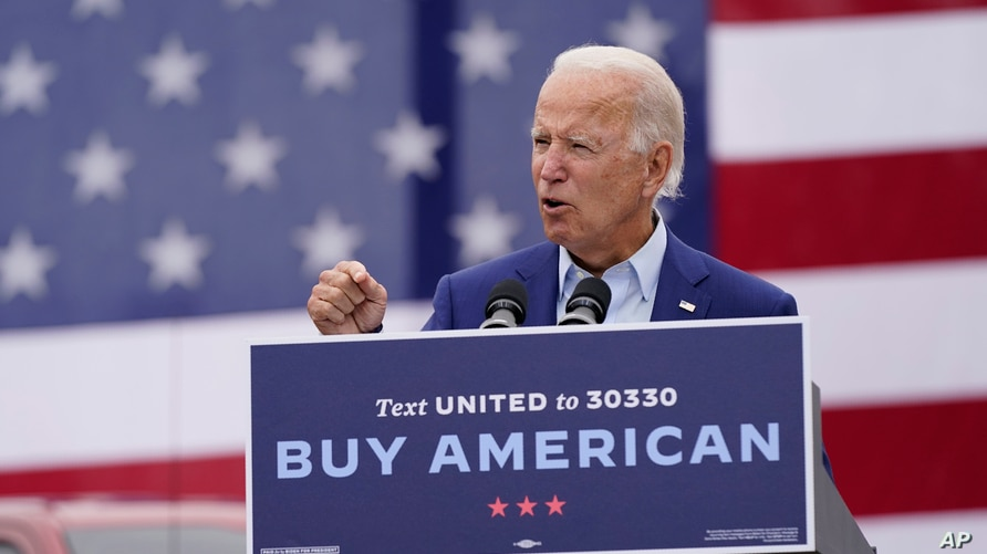 Democratic presidential candidate former Vice President Joe Biden speaks at a campaign event on manufacturing and buying American-made products at UAW Region 1 headquarters in Warren, Michigan, Sept. 9, 2020.