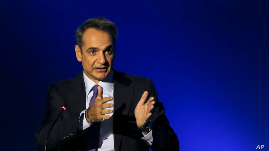 Greece's Prime Minister Kyriakos Mitsotakis addresses journalists during a news conference in the northern city of Thessaloniki, Sept. 13, 2020.
