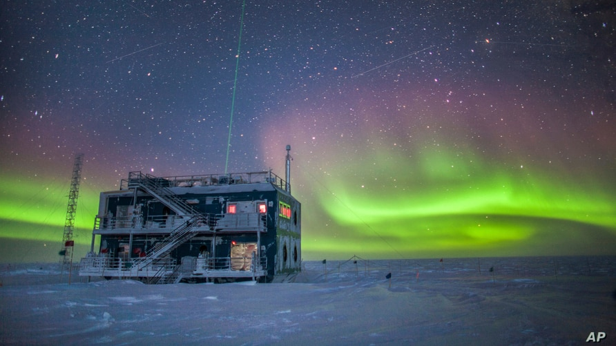FILE - A NOAA photo shows aurora australis near the South Pole Atmospheric Research Observatory in Antarctica. When a hole in the ozone formed over Antarctica, countries around the world in 1987 agreed to phase out several ozone-depleting chemicals.
