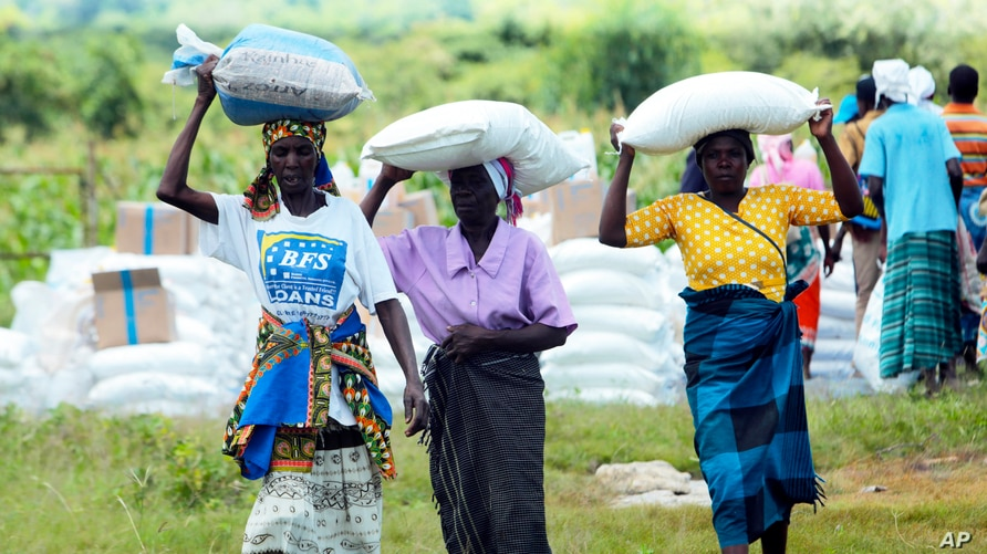 FILE - Women carry bags of maize during a food aid distribution in Mudzi about 230 kilometres northeast of the capital Harare, Zimbabwe, Feb. 20, 2020.