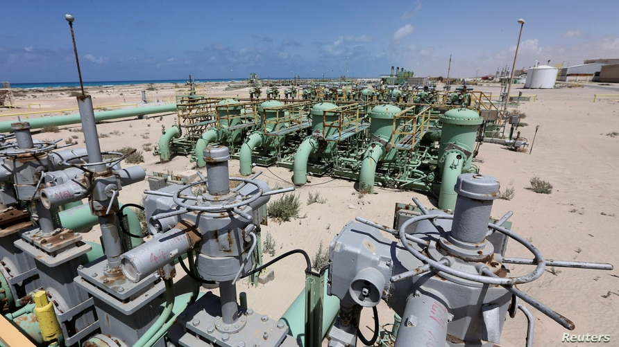 FILE - A general view of pipelines at the Zueitina oil terminal, in Zueitina, west of Benghazi, Libya, April 7, 2014.